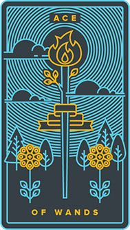 The meaning of Ace of Wands from the Golden Thread Tarot deck: Stay attentive to your goal even as change accelerates. Golden Thread Tarot, Le Tarot, Tarot Astrology, Tarot Card Meanings, Tarot Decks, Deck Of Cards, Alter, Wands, Card Games