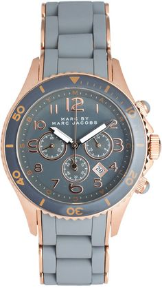 marc jacobs grey and rose gold watch