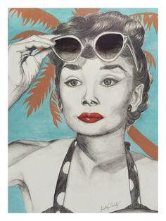 Audrey Hepburn linda! Ícone de beleza, arte e moda dos anos 50, aquarela, arte e art... By Angeliz Herholz
