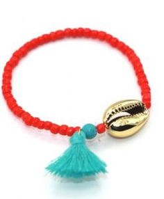 Bracelet rouge coquillage or ete 2017
