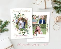 Merry Christmas Card Template Spread some holiday cheer this season with this customizable Christmas Card Template. Your beautiful family photos will look perfect in this 5x7 floral Christmas card. You can quickly and easily edit your card online in your web browser, then download and print right Merry Christmas Love, Christmas Photo Cards, Holiday Cards, Christmas Photos, Birth Announcement Template, Announcement Cards, Christmas Card Template, Beautiful Family, Web Browser