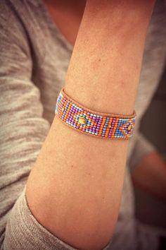 Woven bracelet, Bracelet, Bracelet beads woven Cuff Bracelet, Leather Bracelet, Boho Bracelet, Bracelet, gift