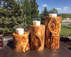Hey, I found this really awesome Etsy listing at https://www.etsy.com/listing/229783754/set-of-3-aspen-wood-candle-holder-logs