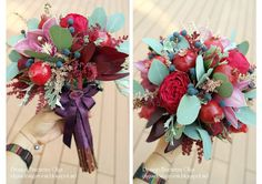 Baiciurina Olga's Design Room: Потрясающий букет невесты на винно-гранатовую свадьбу!-Gorgeous wine&pomegranate themed wedding bouquet! Pomegranate, Wedding Bouquets, Christmas Wreaths, Berries, Floral Wreath, Vegetables, Holiday Decor, Granada, Floral Crown