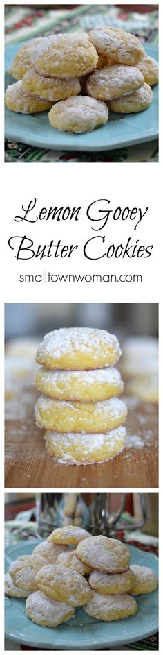 Six ingredient buttery lemon cookies that melt in your mouth. Have you tried my gooey butter cake? This is the cookie version with a lemon twist. It is so difficult to stop eating these! Lemon Desserts, Lemon Recipes, Cookie Desserts, Just Desserts, Cookie Recipes, Delicious Desserts, Dessert Recipes, Gooey Butter Cookies, Lemon Cookies