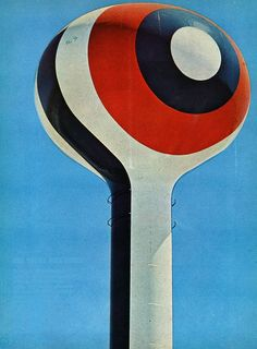 """Water Tower graphic"", Sacramento, California, 1968: Original Cal-Expo. Mural by…"