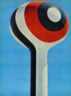 """""""Water Tower graphic"""", Sacramento, California, 1968: Original Cal-Expo. Mural by Barbara Stauffacher Solomon."""