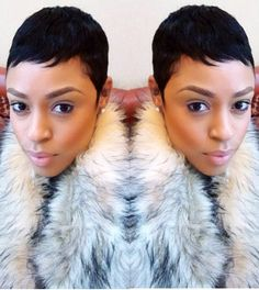 Black Hair Inspiration For The Week 10 Short Sassy Hair, Short Hair Cuts, Short Hair Styles, Short Pixie, Pixie Styles, Black Hair Pixie Cut, Cute Hairstyles For Short Hair, Pixie Hairstyles, Pixie Haircuts