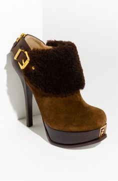 """This is what I want - Fendi """"Fendista"""" Shearling Bootie ($995),  My taste rarely matches my wallet LOL!"""
