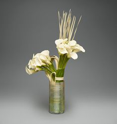 Glass Luster Vase with Sculpted Callas   L'Olivier Floral Atelier