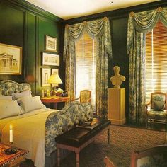 thefoodogatemyhomework: I don't actually know who designed this timeless and stunning deep green bedroom, but I'd guess Albert Hadley. Love the masterful interplay of feminine and masculine in this space.