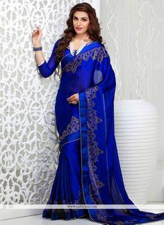 Elite Blue Georgette And Satin Saree