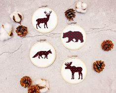 Create Plaid Rustic Ornaments Cross Stitch with this free pattern. Plaid animals include a deer, bear, fox, and moose. Great for Christmas gifts! Symbol Design, Christmas Cross, Christmas Ideas, Christmas Gifts, Christmas Ornaments, Design Blog, Ornaments Design, Cross Stitch Patterns, Things To Sell