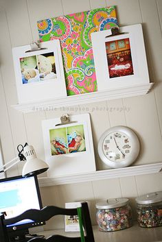 Dishfunctional Designs: Organizing & Decorating With Clipboards! Use small, decorative shelves to display your clipboards.