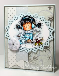 Whimsy - Wee Winter Holly - love the coloring of the image and the card layout - bjl