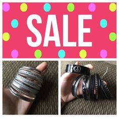 Bangle sale!! Sliver and black!! Silver and black bangles, gently used! Jewelry Bracelets