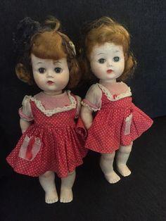 "ADORABLE 1950s era Hard Plastic 10"" WALKER DOLL TWINS unmarked"