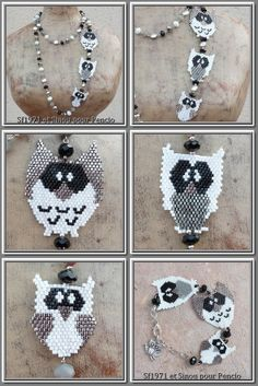 Pencio - parure chouettes - grilles brick stitch free pattern