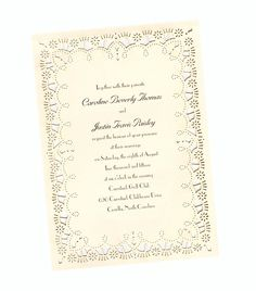 Lacy Die-Cut Border Wedding Invitation. Only $2.02 each when you purchase 100!
