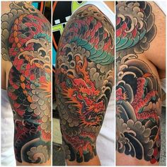 Colorful dragon with clouds half sleeve japanese guys tattoo ideas Dragon Japanese Tattoo, Japanese Tattoo Art, Japanese Tattoo Designs, Half Sleeve Tattoos For Guys, Half Sleeve Tattoos Designs, Best Sleeve Tattoos, Yakuza Tattoo, Japanese Sleeve, Japanese Guys