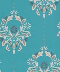 Antoinette (30-736) - Dulux Wallpapers - A smart stylized damask design with metallic highlights and a fine pin stripe background. Showing in cream and gilver on peacock blue - other colour ways available. Please request a sample for true colour match. Paste-the-wall product.