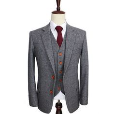 Mens Wool Retro Grey Herringbone Tweed 3 Piece Suit
