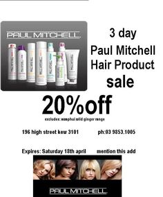 30 day sale 20%off paul mitchell Wild Ginger, Paul Mitchell, 20 Off, 30 Day, Ads, Studio, Studios