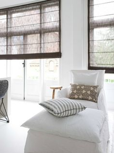 white and brown. love the blinds.  stylist Anouk B, Photography by Marjon Hoogervorst.