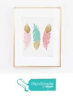 Feather Art Print, Feathers Print Design, Gold Glitter Feather Art, Nursery Art, Office art decor from Penny Jane Designs http://www.amazon.com/dp/B016DV5AAY/ref=hnd_sw_r_pi_dp_0jNTwb001TM3N #handmadeatamazon