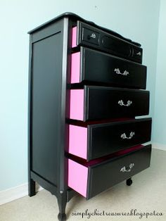 drawers painted hot pink;;; awesome way to display products if you pull them out at different lengths and place a broad to create a top.