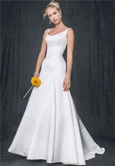 David's Bridal Satin Trumpet Gown, $449 | 36 Elegant Minimalist Wedding Dresses  I hate white but I love the lines on this.