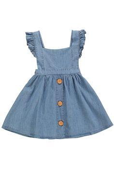 Denim Ruffle Dress – Little Lavish Legends Frocks For Girls, Little Girl Dresses, Girls Dresses, Girls Denim Dress, Toddler Denim Dress, Dress Girl, Little Girl Fashion, Kids Fashion, Fashion Hacks