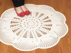 Handmade Crochet Doily Rug EMILY Off White by hennasboutique. $95.00, via Etsy.