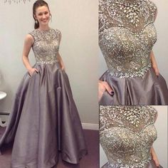 2017 Round Neck Sleeveless Rhinestone A-line Satin Long Prom Dresses The dress is fully lined, 4 bones in the bodice, chest pad in the bust, lace up back or zipper back are all available, total 126 colors are available. This dress could be custom made, there are no extra cost to do custom size and color. Description of dress 1, Material:satin,rhinestone,beads,elastic silk like satin. 2, Color: picture color or other colors, there are 126 colors are available, please contact us for more…