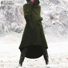 Fashion ZANZEA Women Hooded Long Sleeve Fleece Hoodies Casual Winter Irregular Hem Long Sweatshirt Dress Vestido Top Oversized