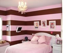 Gorgeous Good Small Bedroom Design Ideas With Brown Pink Stripped Pattern Walls Also White Laminated Wooden Headboard And Bedside Table With Drawers Along White Bedding Sheet Plus Charming Chandelier Hang On White Ceiling With Kids Bedroom Decorating Ideas And Contemporary Bedroom , Amazing Good Decorating Ideas For A Bedroom: Bedroom