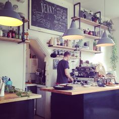 Berry cafe Amsterdam Oud West #interior #cafe - small kitchen and service area to allow more seating.