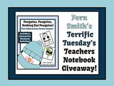 Fern Smith's Terrific Tuesday's Teachers Notebook Giveaway! Penguin Subtraction Centers and Interactive Notebook Activities #TeachersFollowTeachers http://www.fernsmithsclassroomideas.com/2013/12/december-3-terrific-tuesdays-teachers.html