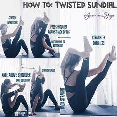 #JasmineYogaTutorial : #TwistedSundialPose A new variation to spice things up! Tips and tricks: 1) Warm up your hamstrings with any kinds of forward bends before trying 2) If your problem is not being able to hook your knee high up your shoulder, do a 90• resting pigeon to warm up the hip. 3) The higher you get your knee up your arm, the easier it will be to balance and twist in the full pose. 4) Belly in and twist from belly button 5) The top arm is active! Use it to pull against your t...