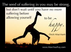 """""""The seed of suffering in you may be strong, but don't wait until you have no more suffering before allowing yourself to be happy."""" –Thich Nhat Hanh"""