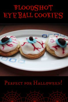 "Bloodshot Eyeball #Cookies #Recipe - soft sugar cookies sandwiched between red strawberry jam and decorated to look like eyes so when you bite into them, they burst with ""blood""! Totally cute in a really gross way and perfect for Halloween! 