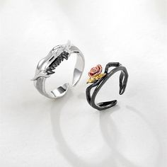 Adjustable Beauty And The Beast Promise Rings For Couples In Sterling Silver, Matching Promise Rings For Him and Her, Custom Promise Rings For Couples. Custom Promise Rings, Matching Promise Rings, Matching Couple Rings, Promise Rings For Couples, Beauty And The Beast, Silver Rings, Fashion Couple, Love Ring, Fashion Rings