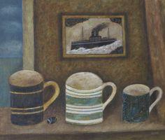 "Martin Leman RBA ""Three Mugs"" Oil 49x54cm £1,200 www.mallgalleries.org.uk"