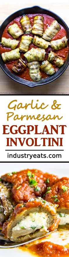 Eggplant Involtini with Homemade Sauce Recipe - Think of this recipe as a blend between eggplant parmesan and baked manicotti. If you like garlic, Parmesan and eggplant, you'll definitely be happy with this dish. It's authentic Italian and a sure-fire family pleaser. Includes, eggplant, garlic, parsley, Parmesan cheese and homemade tomato sauce.