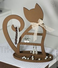 Buy Cat Chocolate - Stand for Jewelry - Stand for S . Diy Craft Projects, Cnc Projects, Woodworking Projects, Cat Crafts, Wood Crafts, Diy And Crafts, Paper Crafts, Laser Cutter Projects, Jewelry Stand