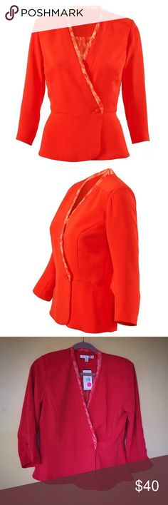 🔥 CAbi Jane Jacket in Grenadine, #216 This gorgeous CAbi Jane Jacket in Grenadine is super cute and stylish and brand new with tags! Perfect for fall and spring looks. It is fully lined with an abstract trim and a single button front. Has 3/4 button sleeves. Size 4. CAbi Jackets & Coats Blazers