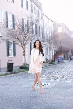 elegant spring work wear (scallop cardigan + blush pink dress + bow heels) by extra petite fashion blog