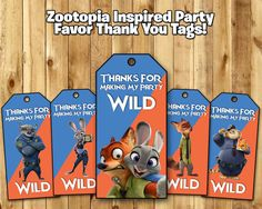 Zootopia Inspired Favor Tags - Zootopia Birthday Party Favor Tags Download Print…