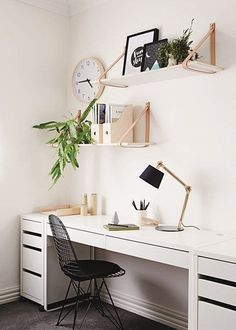 This modern computer desk is compact in size and is ideal for smaller spaces suc. - This modern computer desk is compact in size and is ideal for smaller spaces such as a bedroom, dorm, apartment or home office. Home Office Space, Home Office Design, Home Office Decor, Home Decor Bedroom, Office Ideas, Office Nook, Diy Bedroom, Bedroom Furniture, Office Inspo