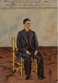 By Frida Kahlo Self-Portrait with Cropped Hair, oil on canvas. Kahlo painted Self-Portrait with Cropped Hair shortly after she divorced her unfaithful husband, the artist Diego Rivera. Frida E Diego, Diego Rivera Frida Kahlo, Frida Art, Frida Kahlo Artwork, Arte Latina, Kahlo Paintings, Portrait Paintings, Mexican Artists, Victoria And Albert Museum